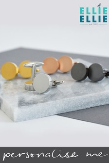 Personalised Contrast Solid Disc Cufflinks by Ellie Ellie