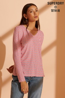 Superdry Organic Cotton Scripted Striped V-Neck Top