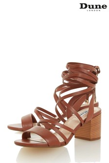 Dune London Tan Leather Ivanni Ankle Tie Block Heel Sandals