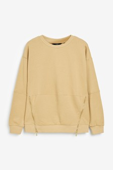 Seam Detail Side Zip Sweatshirt