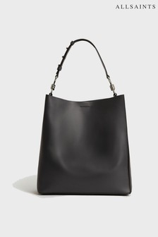 AllSaints Navy Leather Captain Hobo Bag