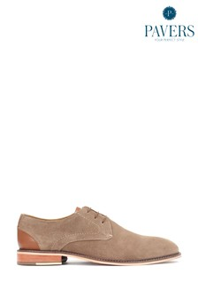 Pavers Natural Taupe Suede Leather Men's Derby Shoes