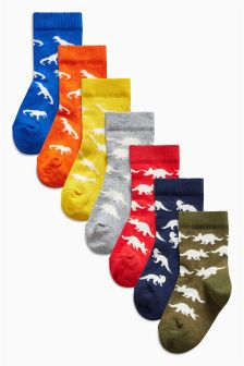 Bright Dino Socks Seven Pack (Younger)
