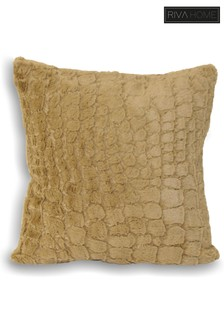 Alligator Texture Faux Fur Cushion by Riva Home