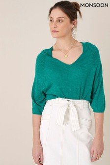 Monsoon Teal Gathered Sleeve Jumper