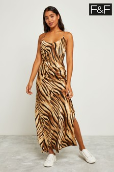 F&F Multi Tiger Strappy Maxi Dress
