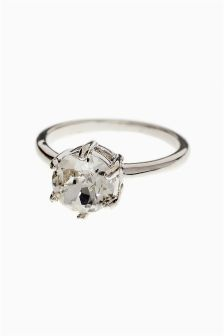 Platinum Plated Crystal Ring