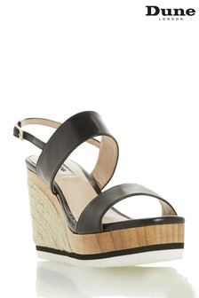 Dune London Black Leather Karii DB Two Part Colour Slice Wedges