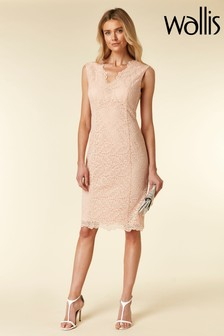 Wallis Pink Blush Lace Scallop V-Neck Shift Dress