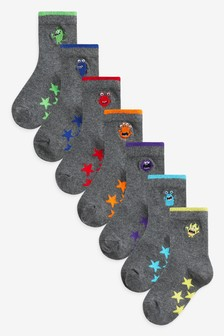 7 Pack Cotton Rich Embroidered Monster Socks (Older)