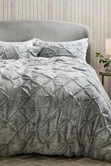 Cheska Faux Fur Duvet Cover and Pillowcase Set