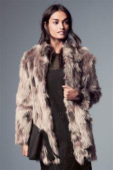 Patched Faux Fur Jacket