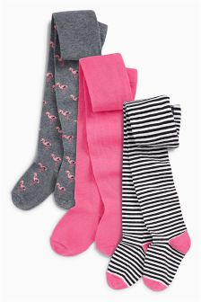 Stripe Flamingo Tights Three Pack (Younger)