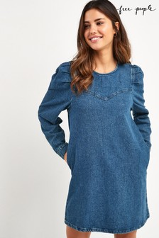 Free People Mid Wash Self Control Denim Midi Dress