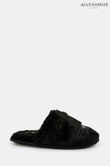 Accessorize Black Furry Cat Mules
