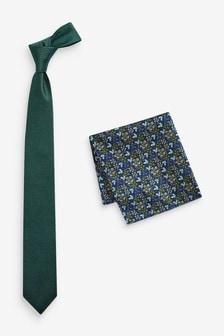 Krawatte und florales, quadratisches Einstecktuch im Set