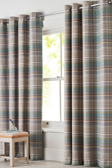 Padstow Woven Check Eyelet Lined Curtains