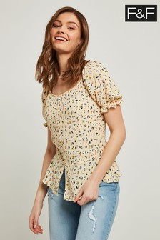 F&F Multi Ditsy Floral Ruffle Sleeve Top