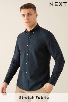 Оксфордская рубашка с длинными рукавами из ткани стрейч