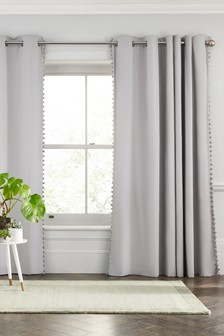 Pom Pom Trim Eyelet Curtains