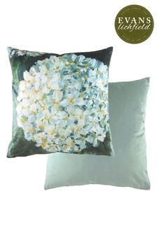 Evans Lichfield Green Winter Floral Velvet Reverse Cushion