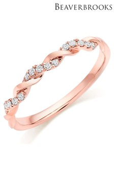 Beaverbrooks 18ct Rose Gold Diamond Twist Wedding Ring