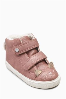 Cat Face High Top Trainers (Younger)