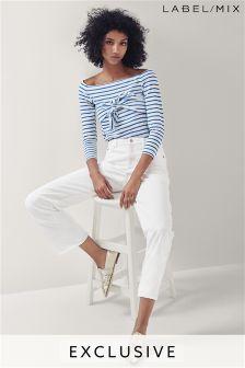 Mix/Osman White Straight Leg Frayed Jean