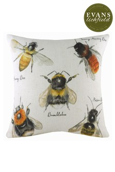 Species Hand Painted Bees Cushion by Evans Lichfield