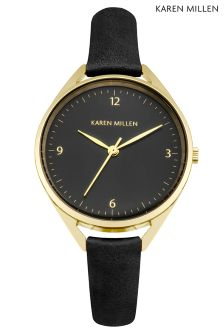 Karen Millen Black Thin Strap Watch