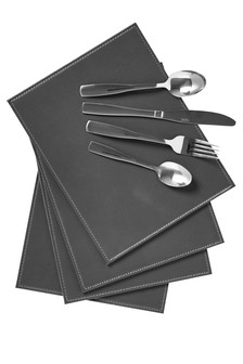 4 Pack Charcoal Faux Leather Placemats