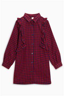 Check Ruffle Longline Shirt (3-16yrs)