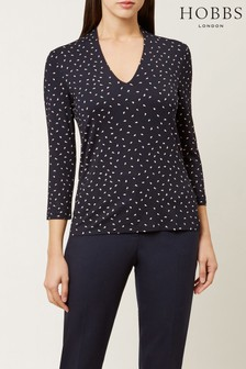Hobbs Blue Aimee Printed Top