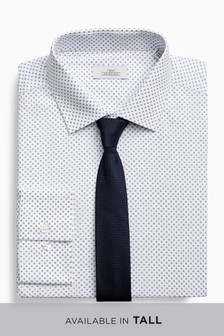 Print Slim Fit Shirt And Tie Set
