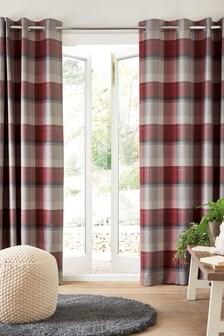 Текстильные шторы в клетку с люверсами Studio* Hudson