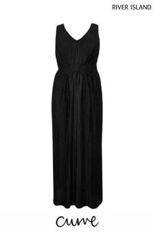 River Island Black Curve Jersey Pleated Maxi Dress
