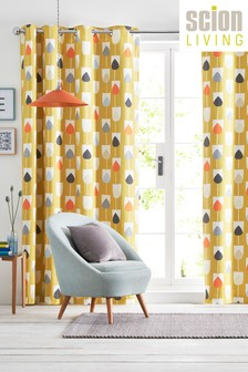 Scion Sular Geo Floral Lined Eyelet Curtains