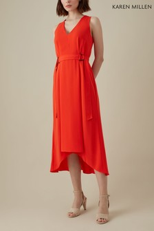 Karen Millen Red Fluid Bella Cinch Waist Dress