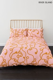 River Island Chain Rope Print Duvet Cover And Pillowcase Set
