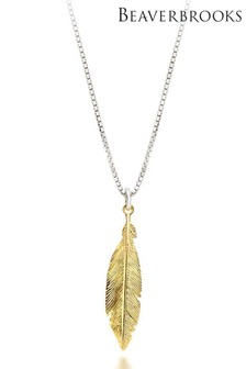 Beaverbrooks Silver And Gold Plated Silver Feather Pendant