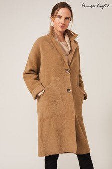 Phase Eight Camel Floressa Fluffy Knit Coat