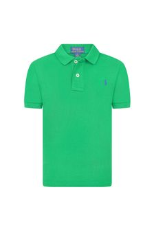 Ralph Lauren Kids Boys Green Pique Polo Shirt