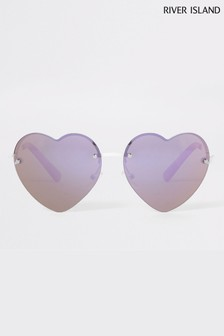 River Island Pink Heart Lens Sunglasses