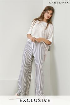 Mix/Teatum Jones Stripe Drawstring Relaxed Trouser