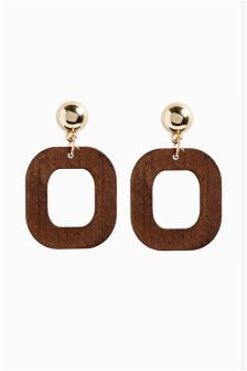Geometric Wood Effect Drop Earrings