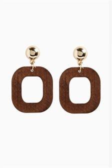 Geometric Wood Effect Drop Earrings