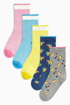 Rainbow Stripe Socks Five Pack (Older)