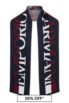 Emporio Armani Boys Navy Wool Logo Scarf