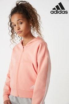 adidas Pink 3 Stripe Must Have Full Zip Hoody