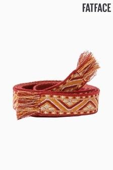 FatFace Red Woven Fringe Tie Belt